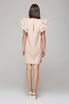 Spot embroidery dress with puffed sleeves - FrontRowShop