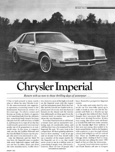 1982 Chrysler Imperial - Road & Track