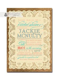 Lace Burlap Bridal Shower Invitation Vintage Rustic Coral & Turquoise Text Wedding Invitation Printable Digital or Printed - Jackie Style. via Etsy.