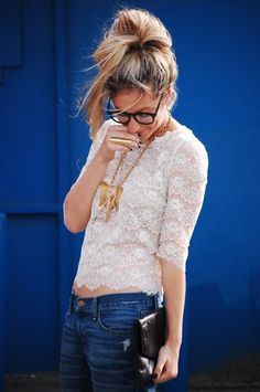 lace & boyfriend jeans.