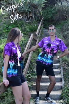 Matching Couples Set - 'Purple Palms' Mens & Ladies Hawaiian Shirts. Perfect outfit for a music festival, luau or cruise. I 100% cotton. Also available in kids. #hawaiianshirt #hawawaiianshirts #partyshirt #alohafriday #purpleparty #luaushirt #cruisewear #islandstyleclothing #flamingoshirt #festivalshirt #festivalfashion #fashion #fashionita #partyshirt #couplesset #couplesgoals #matching #matchymatchy #matchingshirts #luau #beachparty #cruise #couplesgoals #honeymoon #cutematchingshirts