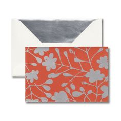 Orange Blossoms Note: A metallic pattern makes a bold statement on this note. Silver foil takes a hit of distress and makes a splash on rich hues, creating a look both sharp and current.