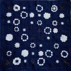 Navy Blue Baby Blanket- Granny Square Crocheted Afghan- Dark Blue and White- Star Motif- One of A Kind- Boy or Girl- Ready to Ship on Etsy, $82.00