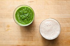 recipe for: date banana smoothie & apple kale ginger smoothie. putting my new pink blender to action!