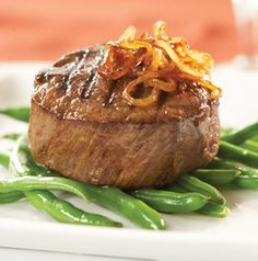 We won't tell anyone if you put the Chipotle Caramelized Onions on more than just this grilled filet mignon. What a delicious steak dinner.