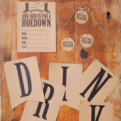 Round 'Em Up | Western-themed party free printables! Invitation, favor tag, and sign!
