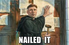 books, the doors, nail, nerd jokes, reform, social media, churches, places, martin luther