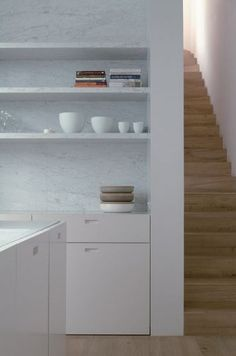 marble accent . kitchen in London by Daskal & Laperre Architects; photograph by Karel Vanoverberghe.