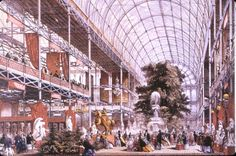 The Crystal Palace, Hyde Park, London, 1851. The Crystal Palace was built to hold the Great Exhibition. The Great Exhibition celebrated the achievements of the British Empire and industrialization. #homeschool #history #Victorian
