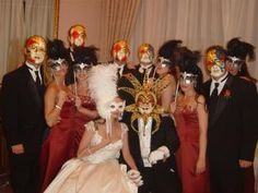 masquerade wedding party. Cat is out of the bag this is what I hope to do for my wedding!