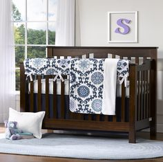 Project Nursery - Lavender, Aqua and Navy Crib Bedding from Liz and Roo. Rosa Berries Damask Bumper-free Crib Bedding Set!