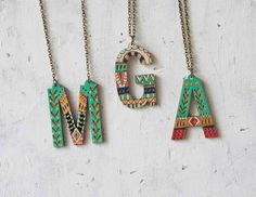 Hand-painted initial pendants look even better in layers. #etsy #etsyfinds