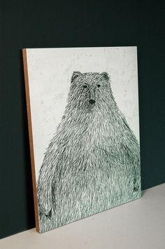 Black Bear - 8x10 Mounted Print. Etsy - krisblues.