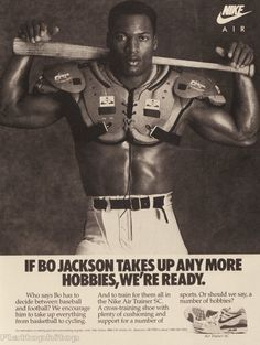 BO JACKSON | Just thought I'd post a few old-school print ads that have inspired ...