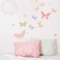 Wall Decal Butterflies (Reusable and removable fabric stickers, not vinyl) - Butterflies (girly)