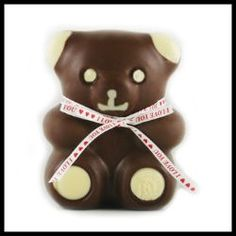 "Leonidas ""I Love You"" Milk Chocolate Bear.  This large chocolate bear is made from pure, creamy milk chocolate and 100% pure cocoa butter without additives. Molded into an adorable 3.5 oz bear, this is the perfect Valentine's chocolate gift.  Overnight delivery. - $6.00"