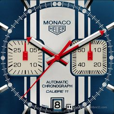 Monaco Steve McQueen Calibre 11  The second McQueen watch is based on the traditional 39mm Monaco case, and like other Vintage Monaco editions, uses the Heuer logo and has the crown on the left-hand side of the case. Like the 24 McQueen, this Calibre 11 version has changed from the prototype seen earlier this year. Note that the McQueen version uses different sub-dial hands than the other Vintage Monaco series, instead using the same square-bottom style as the original Monaco of 1969.