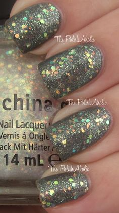 China Glaze, Make A Spectacle (over grey) New for Halloween 2012