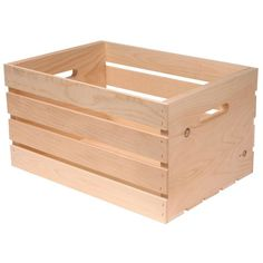 This storage crate is very popular on Pinterest, and one of our most popular pins ever is a project that creates storage crates from these with a simple coat of stain and a pull handle.