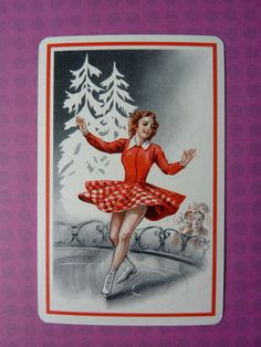 One Single Swap/Playing Card Vintage Ice Skater