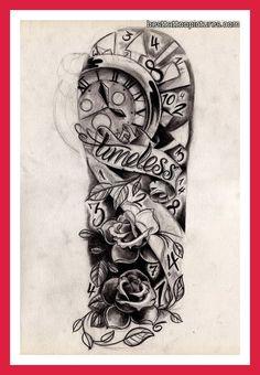 tattoo ideas, sketch, clock, half sleev, sleeve tattoos