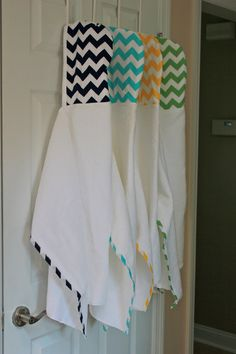 Modern infant CHEVRON hooded bath towel