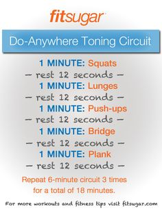 A Drop-and-Do-Anywhere Circuit Workout ... Only problem is I don't think I could do one minute of push ups. My arms hurt just thinking about it ...