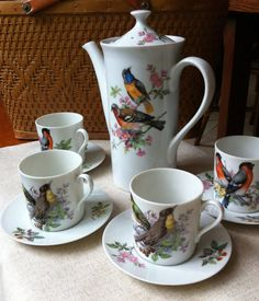 Bird Tea Set - Songbird Mottahedeh Aviary Coffee / Tea / Chocolate Pot with 4 Cup and Saucers on Etsy, $45.00