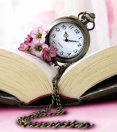 vintage clocks, books, art, make time, pockets, read, pocket watches, tick tock, flower