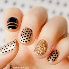 polka dots, holiday nails, gold nails, nail designs, glitter nails, nail arts, black nails, black gold, polka dot nails