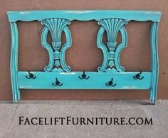 """For Sale $128 - distressed Turquoise and Black Glaze. Re-purposed from a twin headboard. Great for coats, scarves, keys, towels, backpacks...you name it! ~ Create this look on your re-purposed piece!  Our DIY ebook """"Facelift Your Furniture"""" can show you how.  Purchase and download for only $10 at www.faceliftyourfurniture.com. headboard turn"""