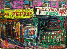 """PHILIP LAWRENCE SHERROD NA..(*FOUNDER*/-..-*STREET*PAINTERS)!? -(STREET*PAINTER)-*PAINTING*-..(*NYC*/-..*PLEIN*AIR*!)? -2013-artist's(C)copyright TITLE: -""""7TH*AVE/-..-*PAPAYA*DRINK*STAND/-PIZZA(!)..-&*SUB*WAY/-..*NYC(!)"""" MED:OIL/CANVAS SIZE:18"""" X 24"""" DATE:2013 artist's(C)copyright"""