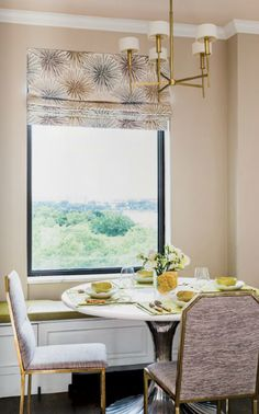 Nice print on the curtain #diningroom tables, chairs, chandeliers, pendant light, ceiling design, wallpaper, mirrors, window treatments, flooring, #interiordesign banquette dining, breakfast table, round dining table, #decorating