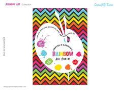 Rainbow Art Custom Printable Invitation  Serendipity Soiree