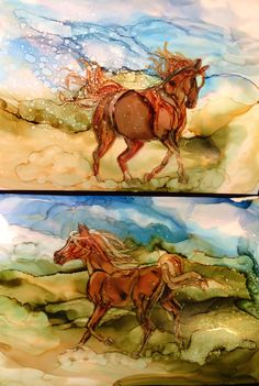 A little pair of ponies. Each is 5by 7 in alcohol ink by me Laurie Henry. Copyright 2014