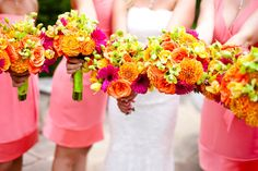 pink, orange, and green bouquet - Bing Images