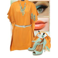 Untitled #1181, created by dragunceol on Polyvore featuring the Stella & Dot - Capri Chandelier Earrings in Turquoise