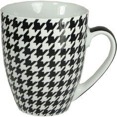Houndstooth Black White Porcelain Mug