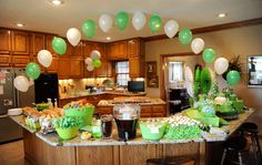 Fun in the kitchen for graduation party decor.