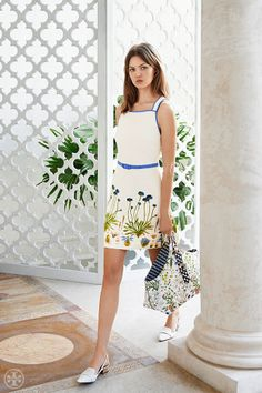 The garden tote and the sundress: summertime mainstays in floral prints that began as hand-painted artwork | Tory Burch Summer 2014