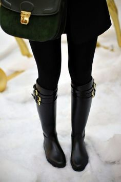 Sleek and stylish! Black rain boots also great for snow and perfect with black leggings for fall, winter and spring 2013 - 2014 ♥ Get this look at @SPARKTREND for $50, click the image to see! #boots #boot #womens #fashion