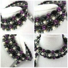 Alternating layers of Memory Wire Bracelet (Purple fossil stone, White Swarovski Pearls Memory Wire Bracelet | jazzitupwithdesignsbynancy - Jewelry on ArtFire)