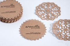 Doily DIY business cards.