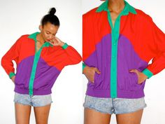 Vtg Color Block Red Green Purple Button Down Jacket w Pockets. $32.99, via Etsy.