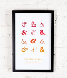 The Ampersand print in orange 11x17 typography by MilkBoxPrints. $20.00 USD, via Etsy.