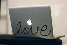 LOVE Hand Lettered Custom MacBook / Laptop Decal. $12.00, via Etsy.