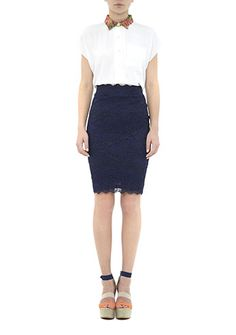Lovely navy lace pencil skirt #sweetlifestyle #sweetlife