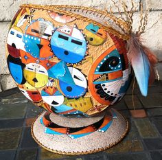 Gourd Art by Gail Bishop featuring GourdMaster Ink Dyes and Transparent Acrylics