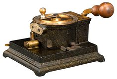 "Abbott Automatic Check Perforator  Abbott Machine Company of Chicago 1889  7.5""L x 8""W x 5.75""H  ($2,950.00)  $1,919.00  OneKingsLane.com 575h 295000, check perfor, antiguedad moderna, machin compani, chicago 1889"