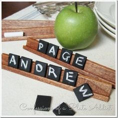 Scrabble styled chalkboard place cards - Confessions of a Plate Addict